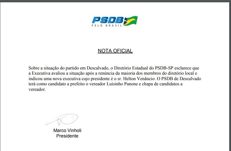 Nota Oficial do Presidente Estadual do PSDB desmente Descalvado News