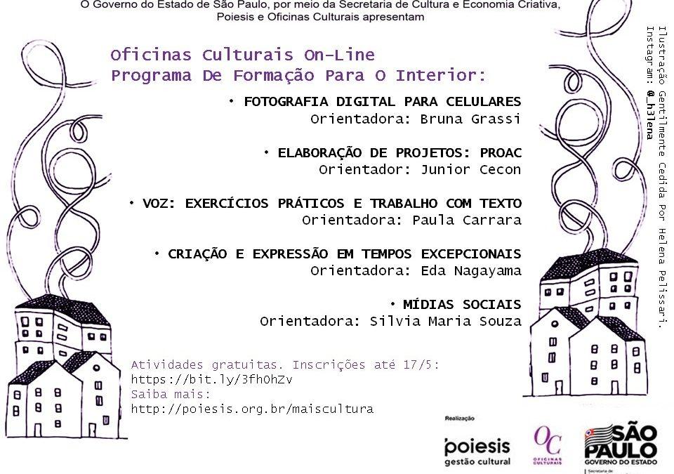 Prefeitura oferece atividades on-line para alunos das Oficinas Culturais