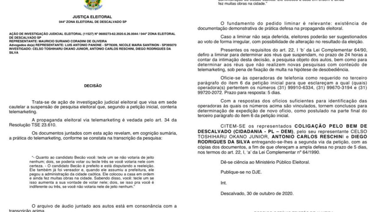 Justiça suspende pesquisa e investigará candidatos 'Becão e Diego da Global' por propaganda irregular e abuso do poder