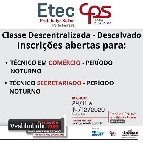 ETEC abre cursos de Técnico em Comércio e Técnico em Secretariado em Descalvado