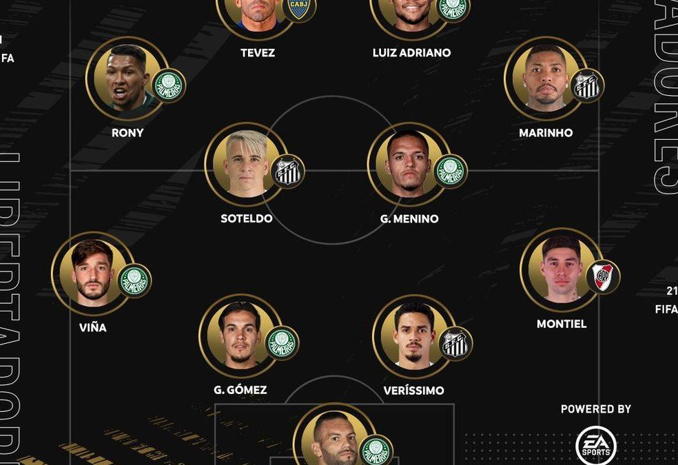 Campeão, Palmeiras domina seleção da Libertadores com seis jogadores; Santos tem três