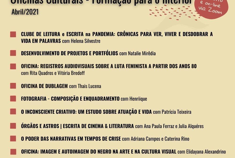 Oficinas Culturais On-line estão com inscrições abertas para as atividades de abril