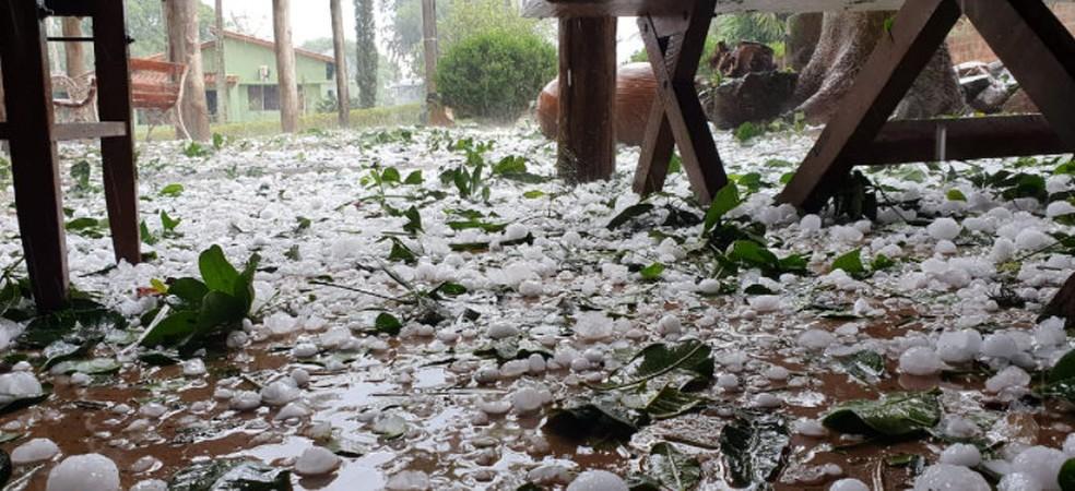 Chuva de granizo em Araras causa estragos em restaurante e queda de árvores