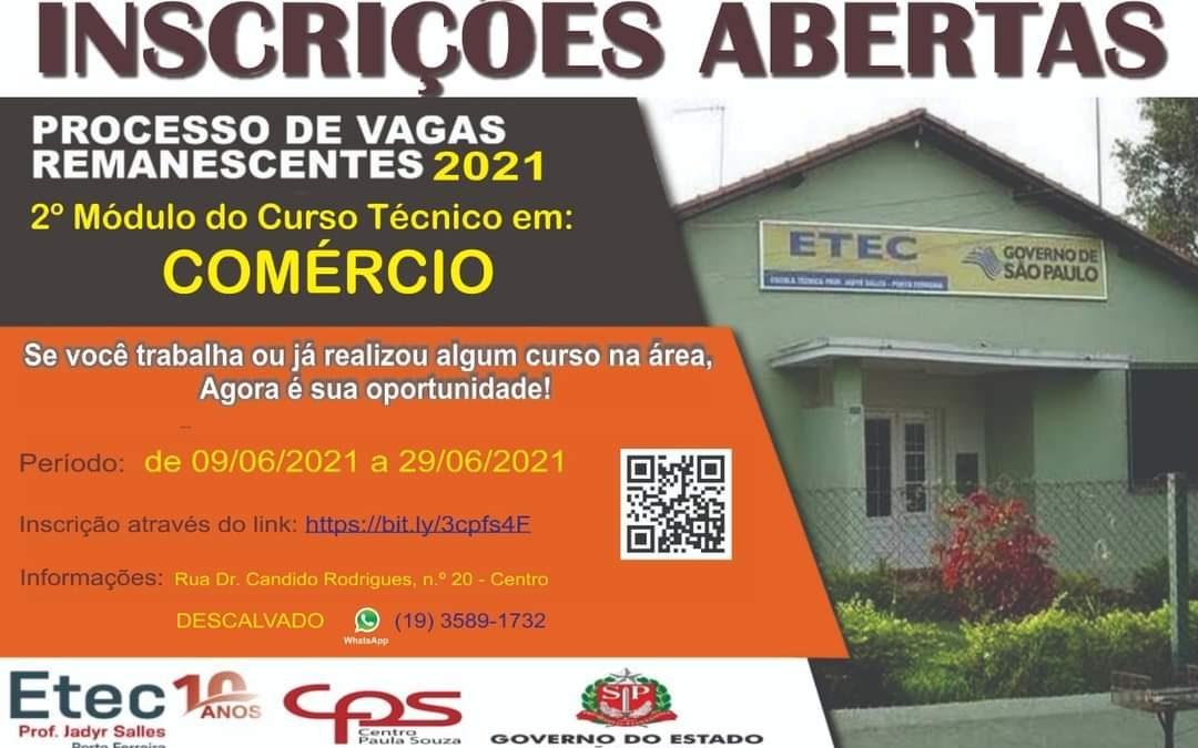 ETEC Descalvado está com inscrições abertas para vagas remanescentes dos cursos técnicos de Secretariado e Comércio